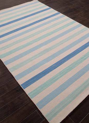 Veeraa Striped Handmade Wool Flat Weave Blue and White Rug