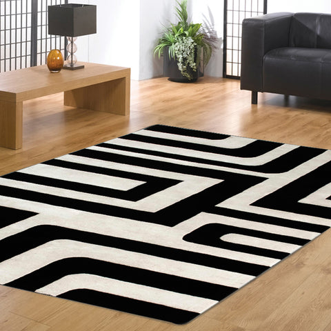 Veeraa Jaipur Fort Hand Tufted Wool Silk Black White Rug