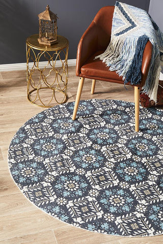 Cancun Printed Soft Blue Round Rug