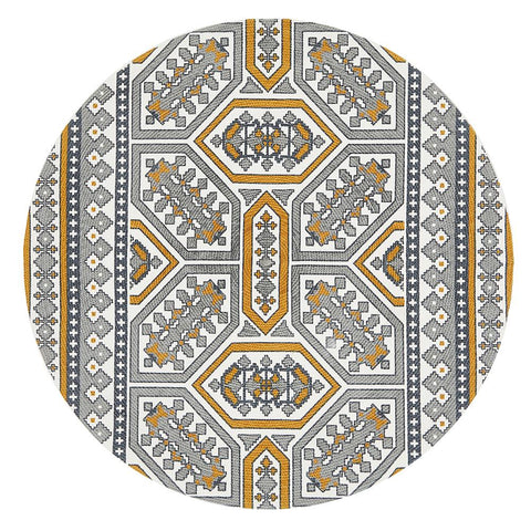 Cancun Printed Gold Round Rug
