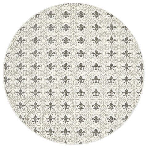 Cancun Printed Silver Round Rug