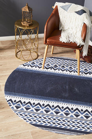 Cancun Printed Navy Blue Round Rug