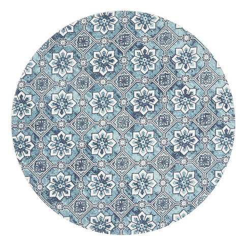 Cancun Printed Blue Round Rug