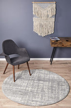 Mirage Ashley Abstract Modern Silver Grey Round Rug