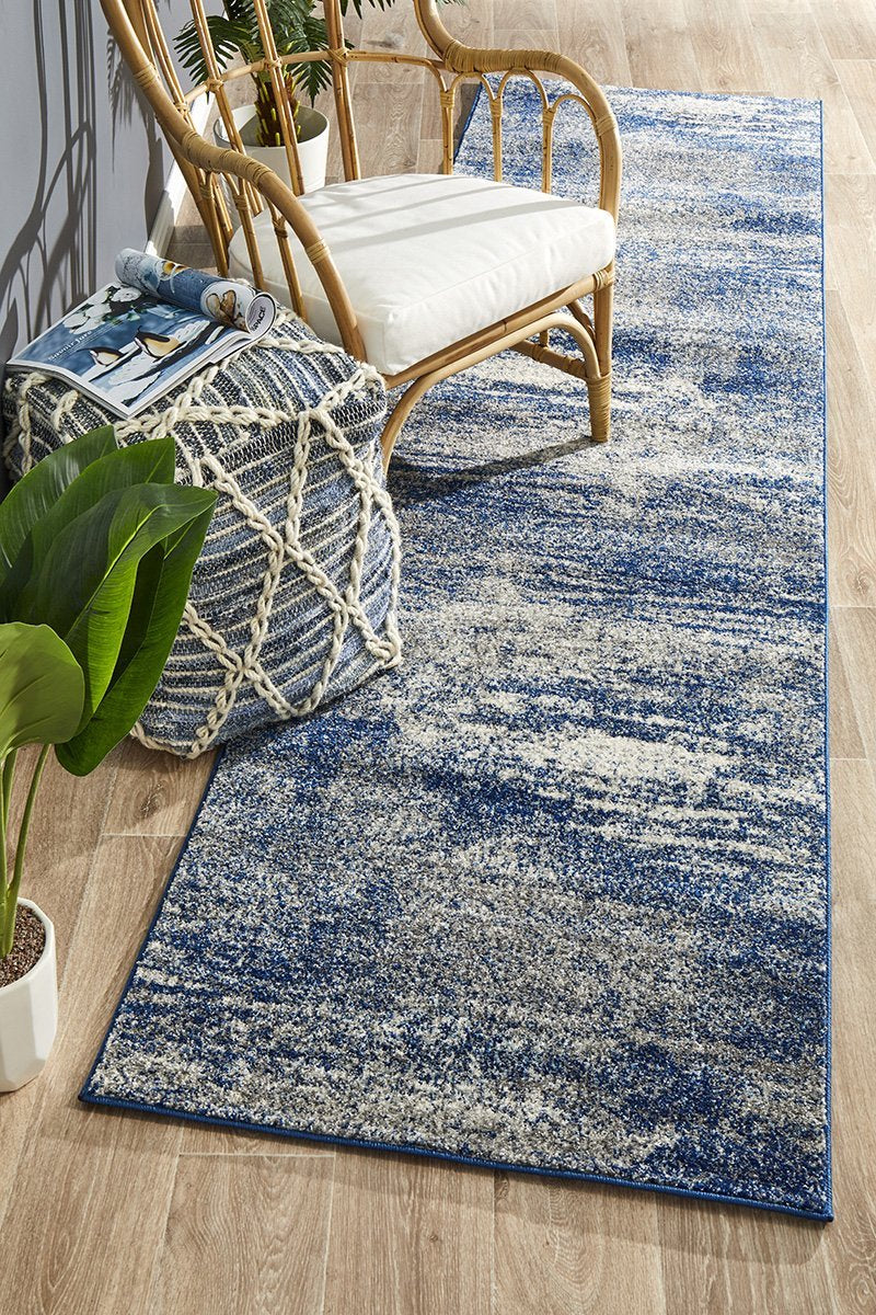 Atena Temple Modern Blue Grey Runner Rug