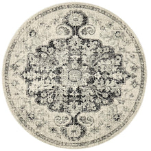 Pompeii Transitional Charcoal Round Rug