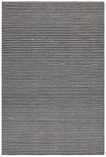 Casablanca Oskar Felted Wool Striped Black White Rug