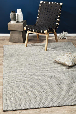 Casablanca Oskar Felted Wool Striped Grey Rug