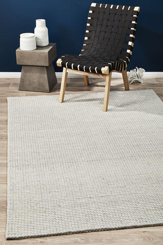 Casablanca Oskar Felted Wool Striped Grey White Rug