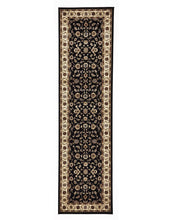 Sydney Collection Classic Rug Black With Ivory Border