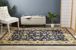 Sydney Collection Classic Rug Blue With Ivory Border