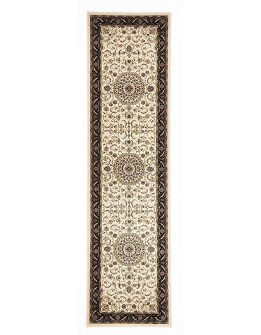 Sydney Medallion Runner Ivory With Black Border Runner Rug