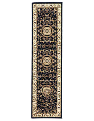 Sydney Medallion Runner Blue With Ivory Border Runner Rug