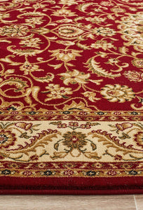 Sydney Collection Medallion Rug Red With Ivory Border