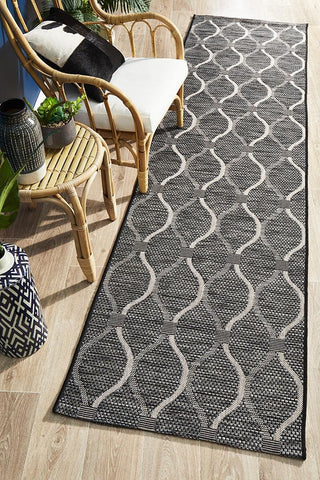 Paris Indoor Outdoor Black Runner Rug