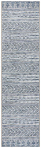 Paris Indoor Outdoor Tribal Blue Runner Rug