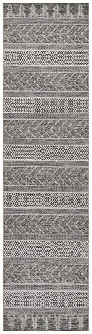 Paris Indoor Outdoor Tribal Grey Runner Rug