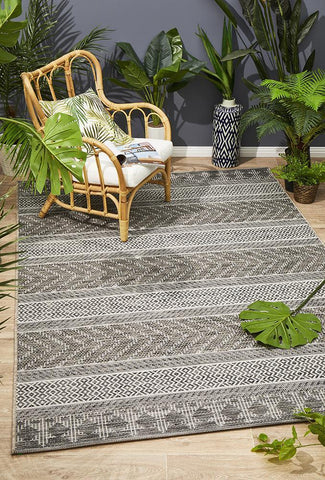 Paris Indoor Outdoor Tribal Grey Rug