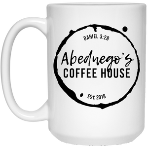 15 oz. White Mug Black Logo