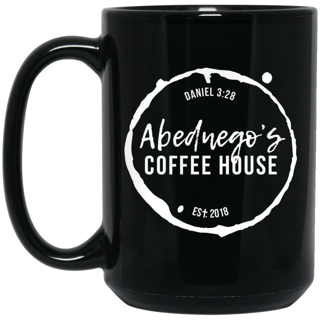 15 oz. Black Mug White Logo