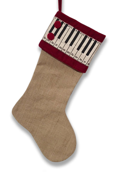 Holiday Stocking Jute/Piano