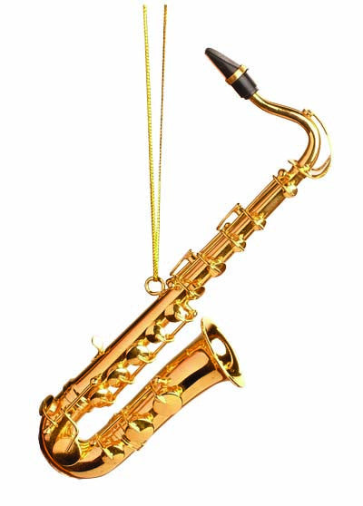 Gold Tenor Saxophone Ornament