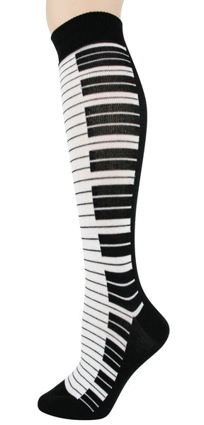 Knee High Socks Black and White Piano