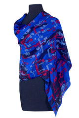 Scarf Music Note Silk Blue