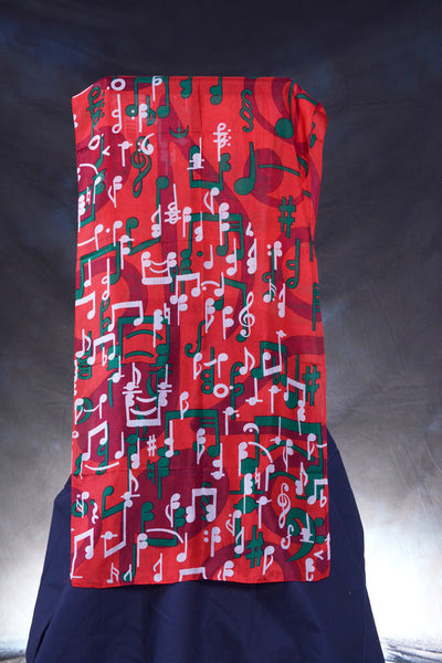 Scarf Music Note Silk Red