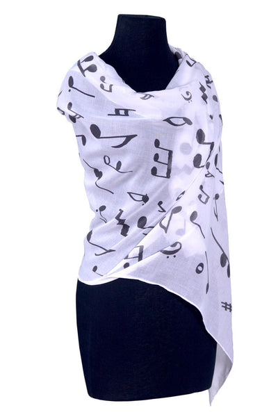Scarf Music Note Cotton Black/White