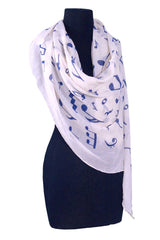 Scarf Music Note Cotton Blue