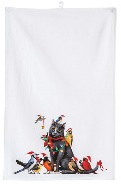 Tea Towel with Cat and Birds