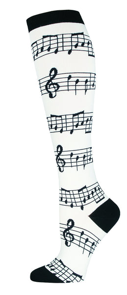 Knee High Socks Music White