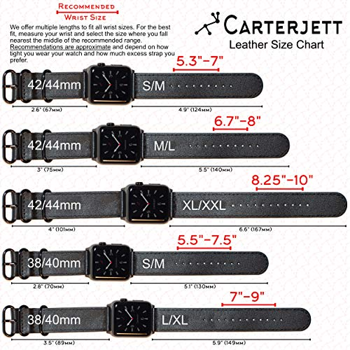 Carterjett Compatible with Apple Watch Band Leather 42mm 44mm 38mm 40mm iWatch Band Replacement Series 5 Series 4 3 2 1 Brown Black Strap Steel Buckle S M L XL XXL