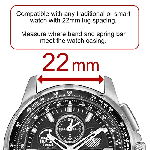 Carterjett Quick Release Watch Band 22mm Nylon NATO Straps Compatible Samsung Gear Galaxy S3 Classic Frontier Moto Pebble Fossil Smartwatch Traditional 22 mm S M L XL XXL Multiple Colors