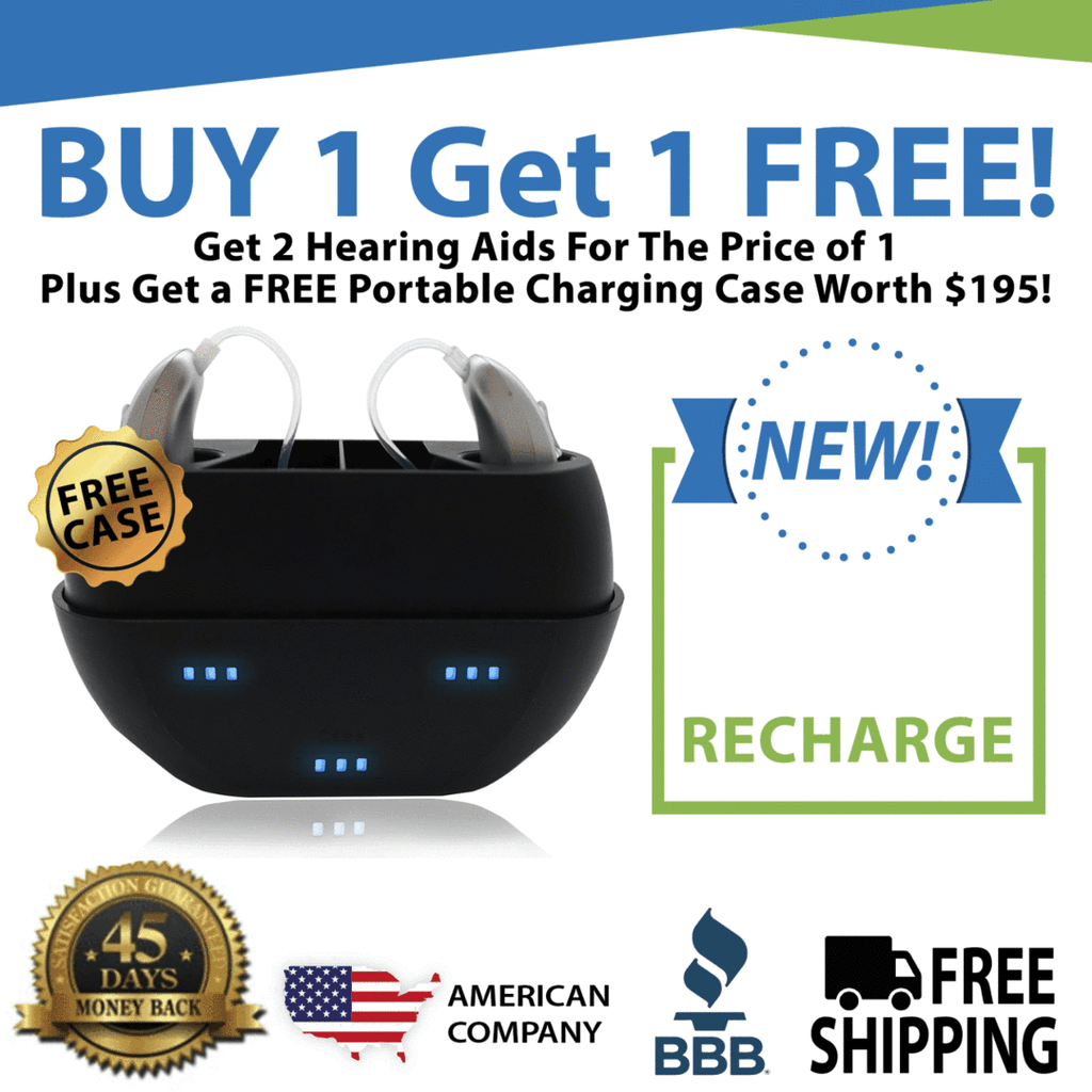 Buy 1 New Nano Model X3Recharge Hearing Aid And Get The Second Ear FREE! Plus Get a FREE Portable Charging Case Worth $195!