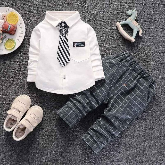 Boys Shirt and Tie with Matching Plaid Pants