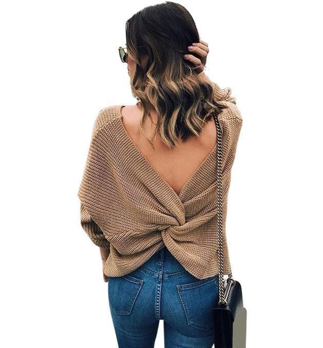 Knotted Back Women's Sweater