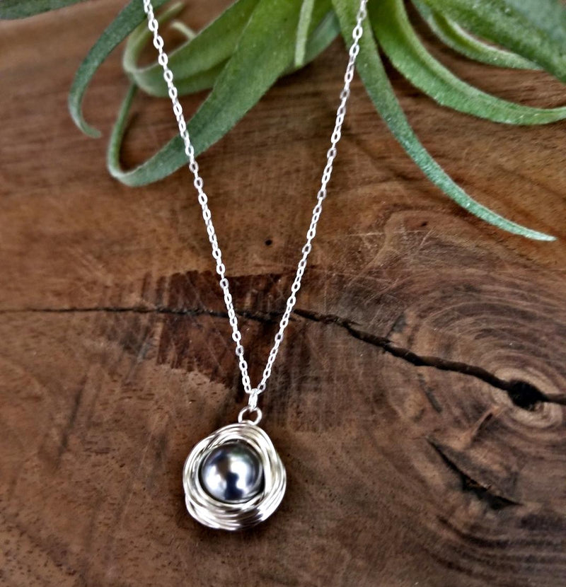 Wrapped Pearl Necklace-Gray