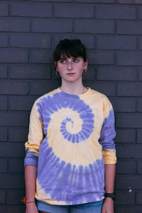 Long Purple and Yellow Tie-Dye tee