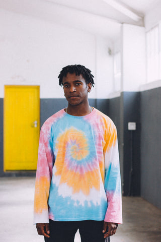 Long Pink, Orange and Blue Tie-Dye tee