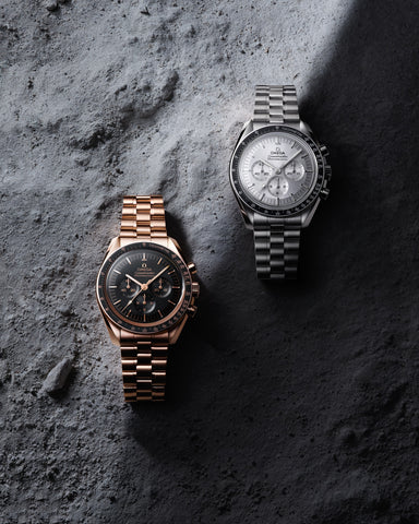 Omega speedmaster moonwatch collection rose gold bracelet and silver bracelet