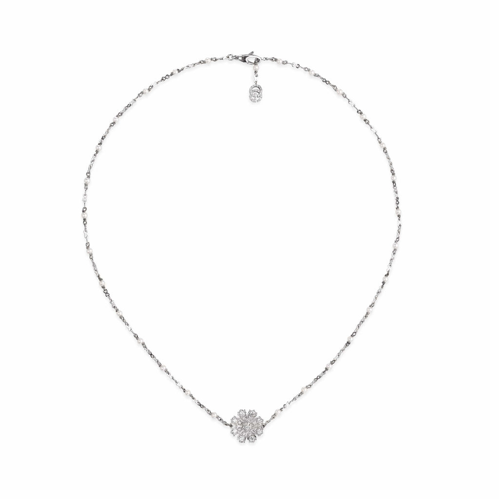 Gucci Necklace Gucci flora 18ct white gold flower necklace with diamonds YBB58180900100U
