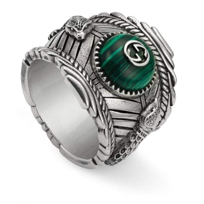 Gucci Ring GUCCI Green Resin Kingsnake Ring YBC499007001