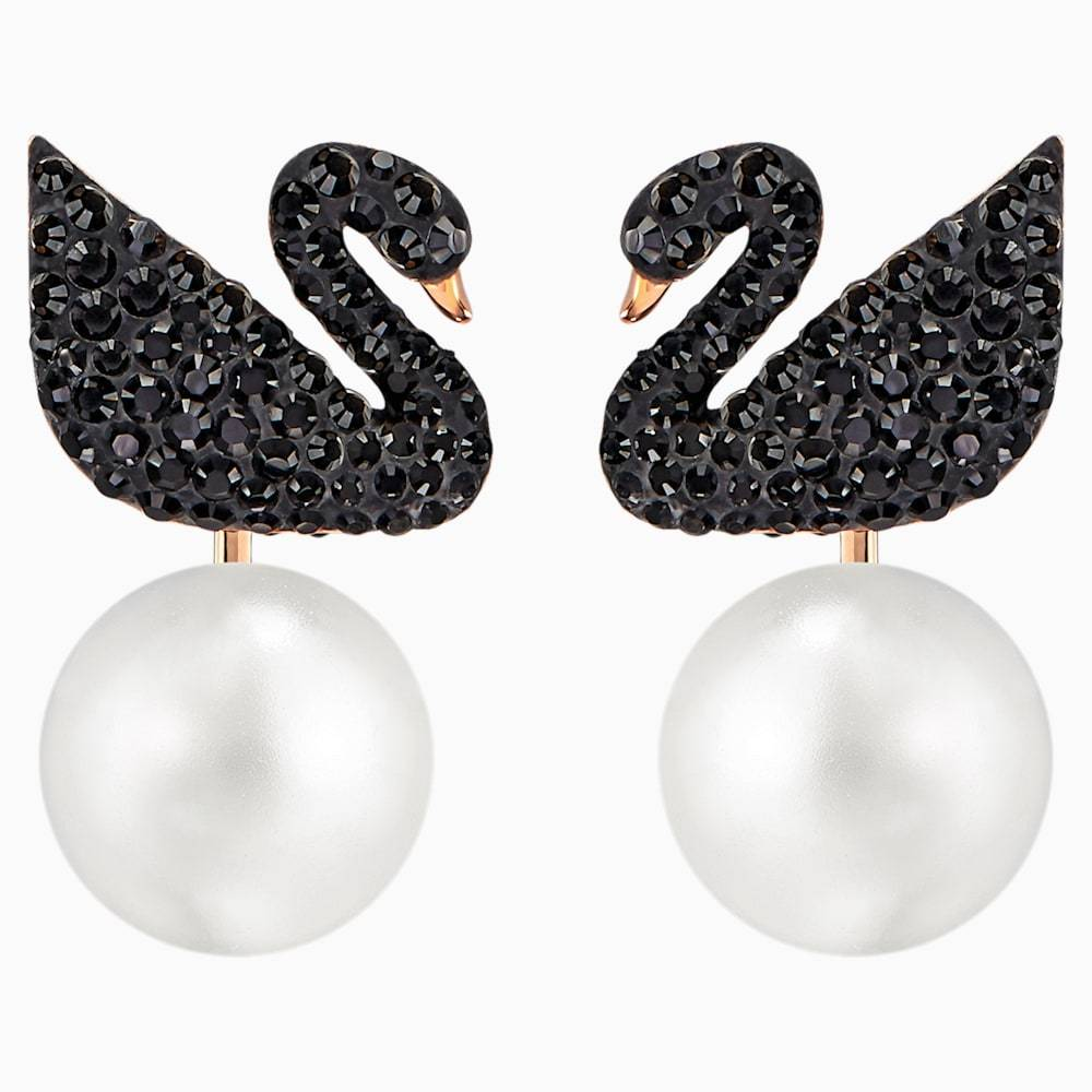 Swarovski Earrings Swarovski Iconic Swan Pierced Earring Jackets Black Rose-gold to 5193949