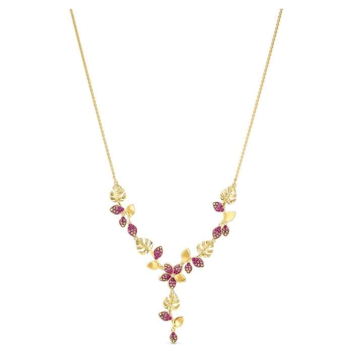 Swarovski Necklace Swarovski Tropical Flower Y Necklace Pink Gold-tone plated 5541061