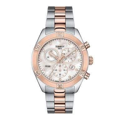 Tissot Watch Tissot PR 100 Sport Chic Steel And Rose Gold Tone Chronograph Ladies Watch