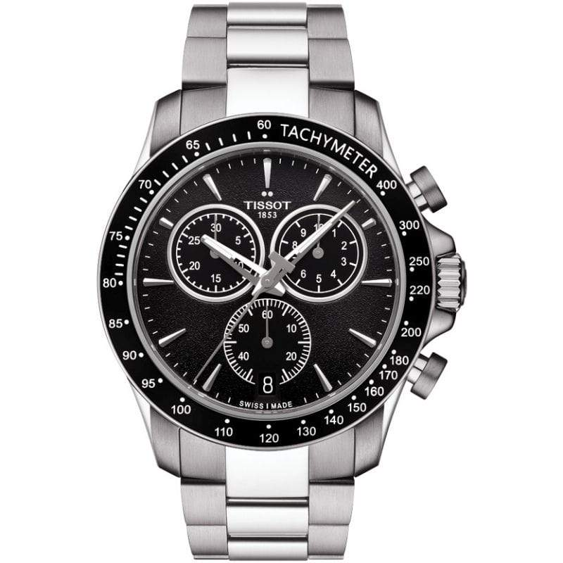 Tissot Watch Tissot V8 Chronograph Watch | Black Dial with Steel Bracelet