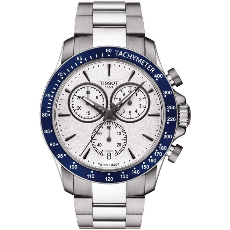 Tissot Watch Tissot V8 Chronograph Watch | Blue & Silver Dial with Steel Bracelet