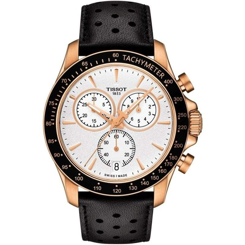 Tissot Watch Tissot V8 Chronograph Watch | Silver & Rosegold Dial with Black Leather Strap